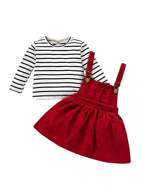 STEPHANIE STRIPES TWO-PIECE OVERALL DRESS SET