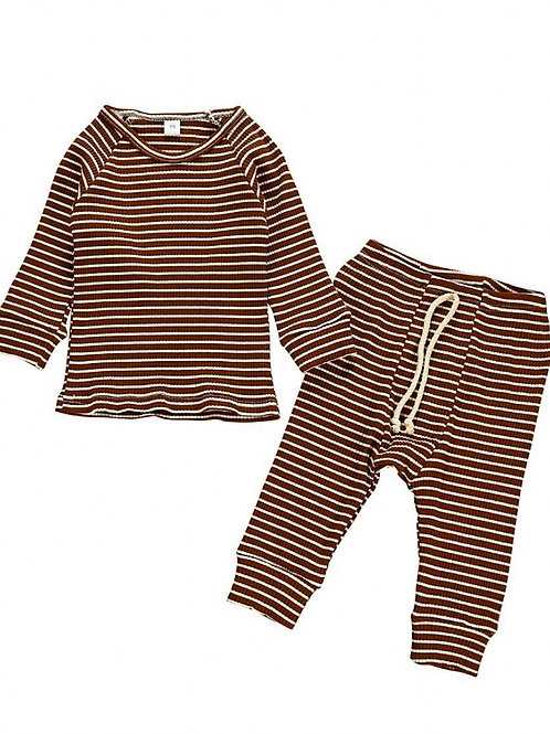 MARLEY STRIPED TWO-PIECE SET - BROWN