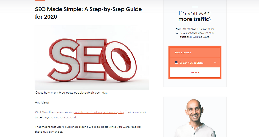 SEO Made Simple 2020 blog post by Neil Patel