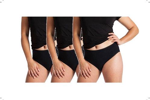 3-Packung Damen Taillen-Slip schwarz