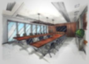 Дизайн интерьера. Эскизное предложение офисногопомещения. Переговорная.Московскаявалютная биржа.