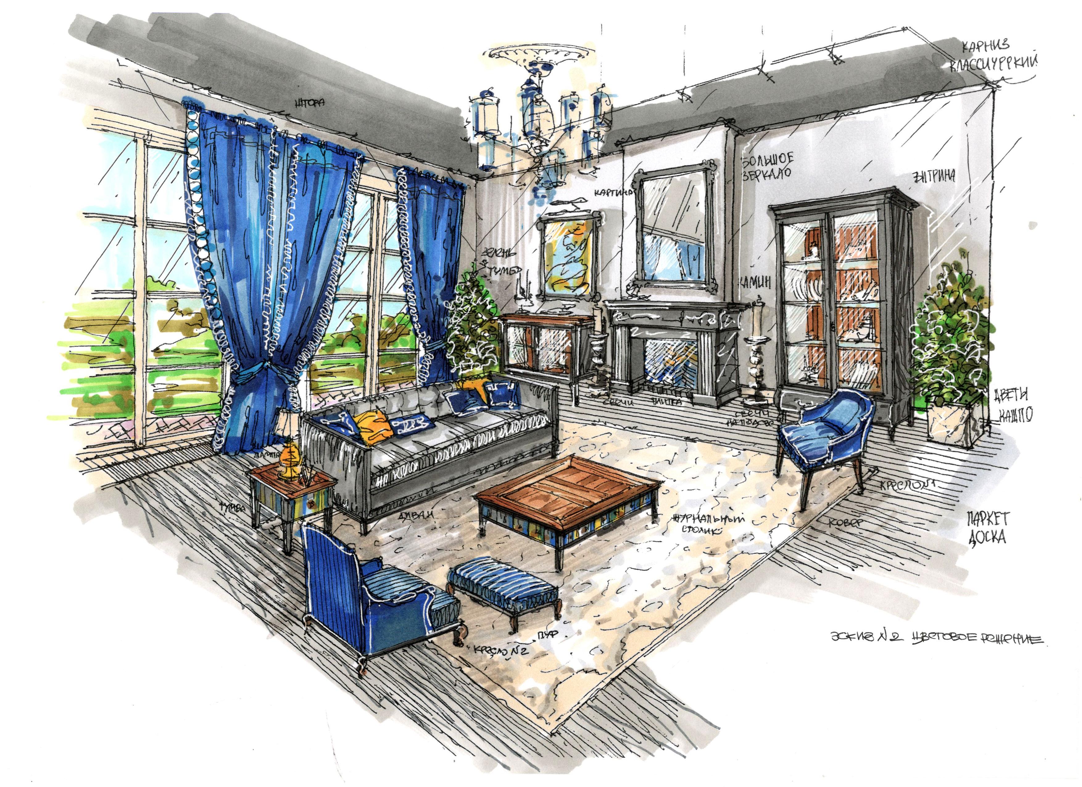 Эскиз интерьера мебельного шоурума