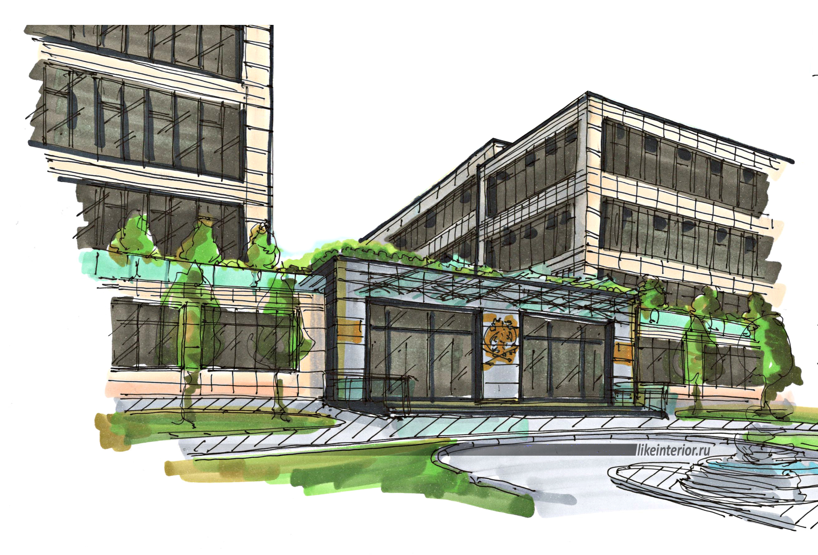 Эскиз входной группы офисного здания