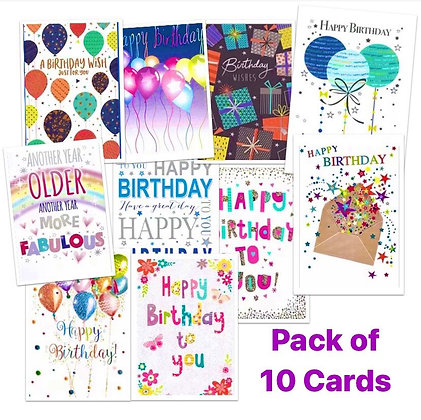 Pack of 10 Birthday Cards