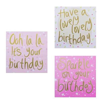 Pack of 3 Birthday Cards