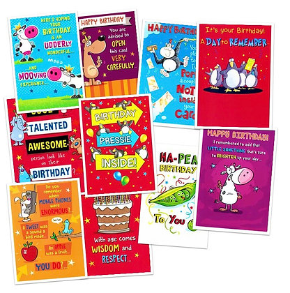 Pack of 10 Humorous Birthday Cards