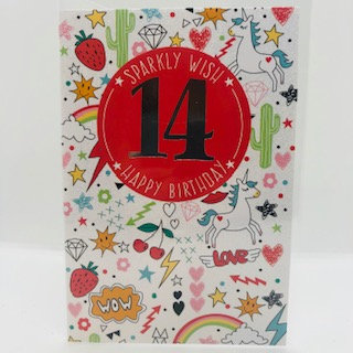13th Sparkly Birthday Card