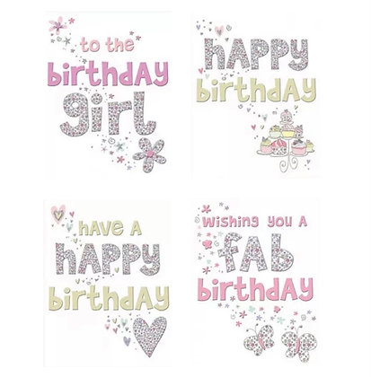 Pack of 4 Female Birthday Cards