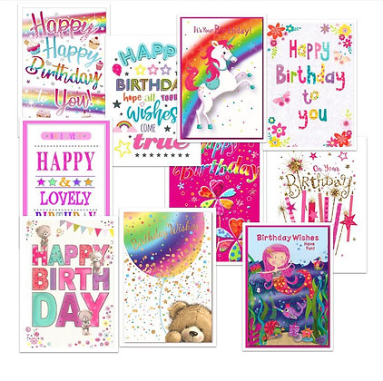 Pack of 10 Birthday Cards for Girls
