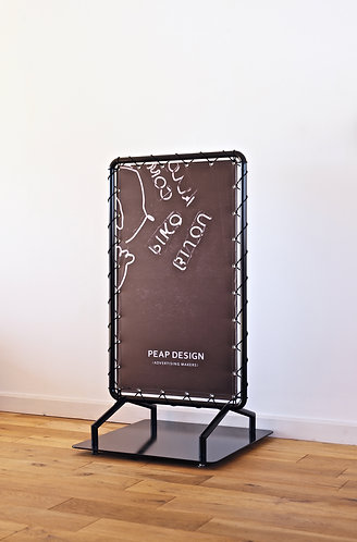 Tent curtain stand sign