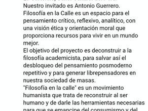 Antonio Guerrero. Cartelera TV Perú. Recuperar el espacio de la filosofía en la calle.