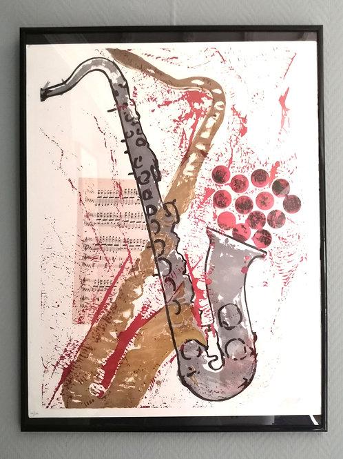 """Lithographie ARMAN  """"Saxophone jetons de Casino"""""""
