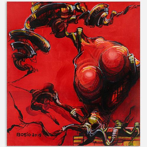 Peinture Racine Humaine sur fond Rouge de Laurent Bosio
