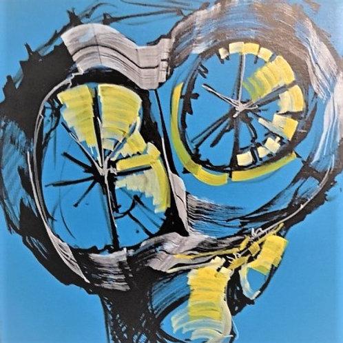 Peinture Vanité  sur fond Bleu de Laurent Bosio Réf BOT16