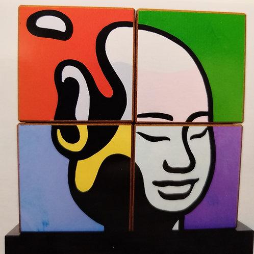 Cube Bouddha de Moustache bleue