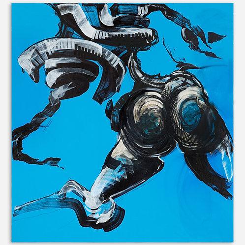 Peinture Racine Humaine sur fond Bleu de Laurent Bosio