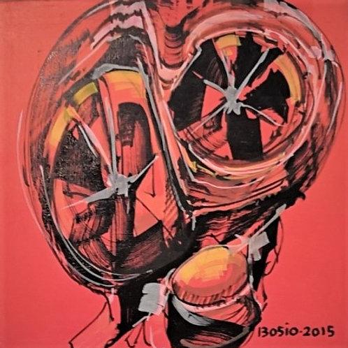Peinture Vanité  sur fond Rouge  de Laurent Bosio Réf BOT15