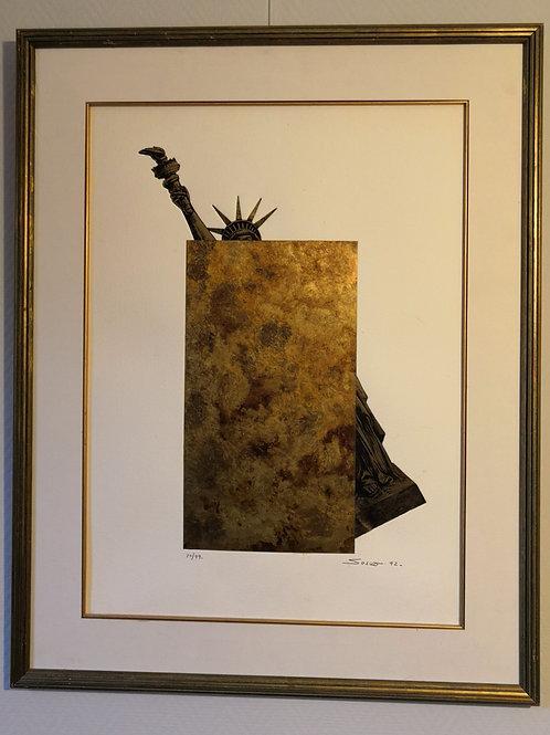 Métalogravure oblitération de la Statue de la liberté de   Sacha SOSNO