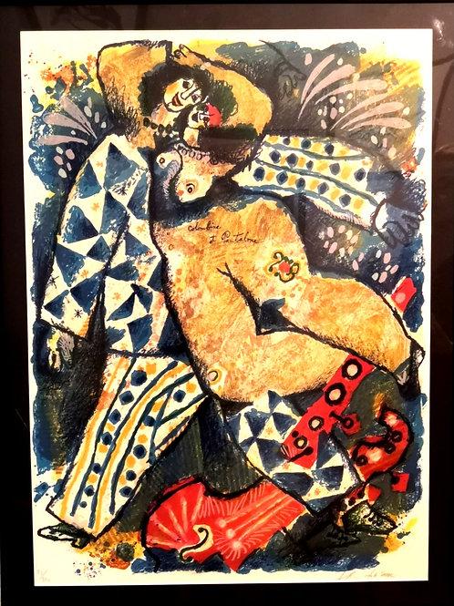 Lithographie Tobiasse Colombine et Pantalone