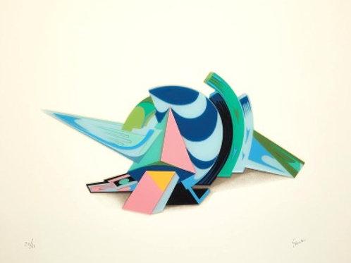 Sérigraphie en couleurs et thermocollage BLEU by Jean Claude FARHI