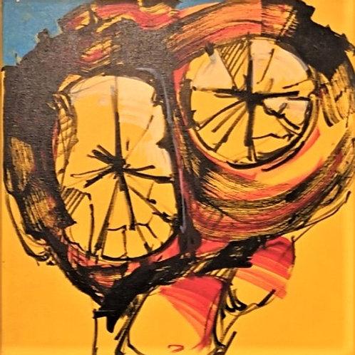 Peinture Vanité  sur fond Jaune   de Laurent Bosio Réf BOT17