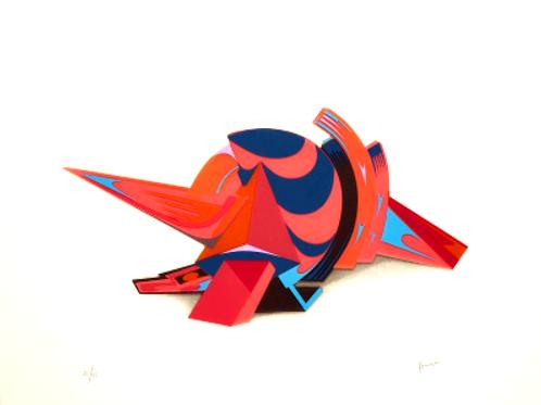 Sérigraphie en couleurs et thermocollage ROUGE by Jean Claude FARHI