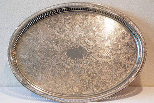 "16"" x 22"" Oval Stainless Gallery Serving Tray"
