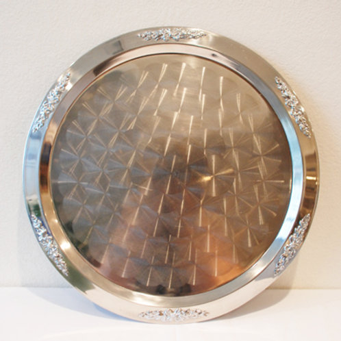 """20"""" Stainless Silver Trim Serving Tray"""
