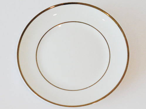"7"" Salad Plate White With Gold Rim (Rented by 10)"