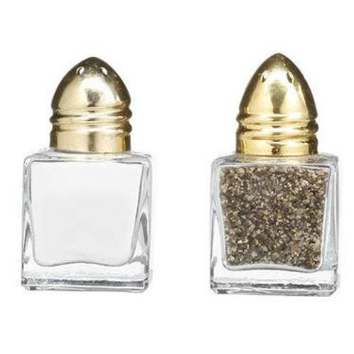 Salt and Pepper Crystal with Gold Top