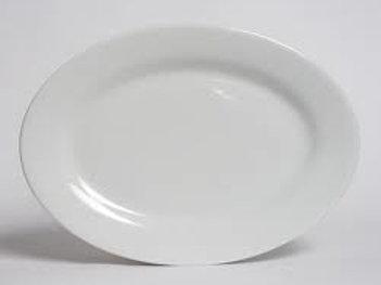 "14"" White Oval China Platter"