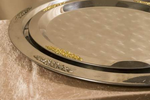 """20"""" Stainless Gold Trim Serving Tray"""