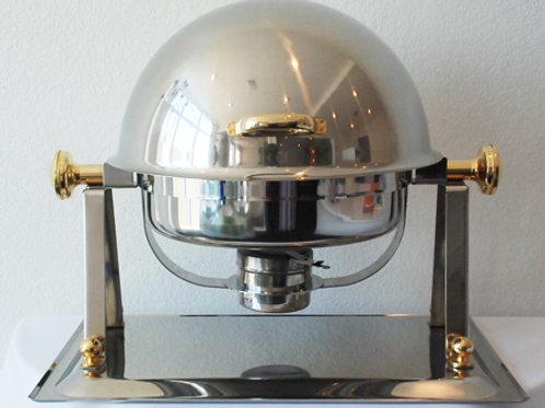 4 qt Gold Trim Roll top Chafing Dish
