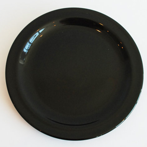 "10"" Black spectra Dinner Plate (Rented by the Doz)"