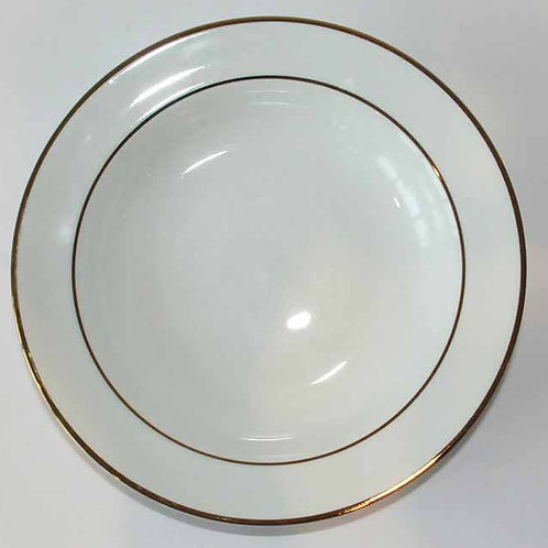 "10"" Dinner Plate White With Gold Rim (Rented by 10)"