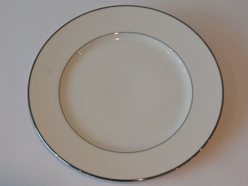 "10"" Dinner Plate White With Silver Rim (Rented by 10)"