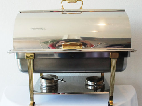 8 qt. Brass trim Roll top Chafing Dish