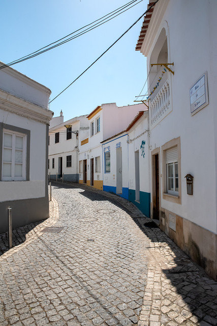 Colorful little houses in a row - Lagos Algarve Portugal