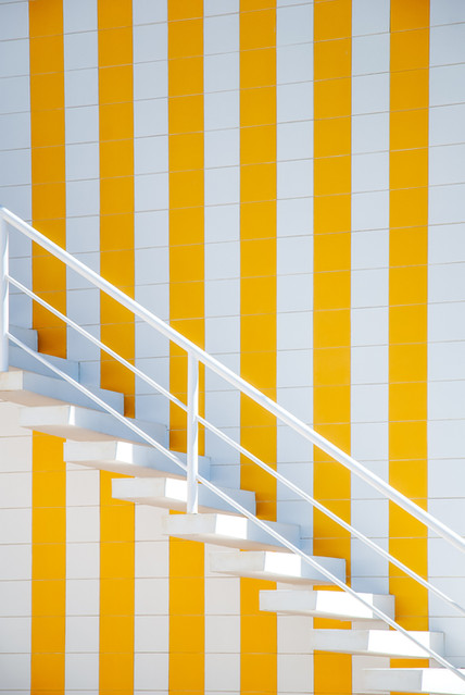 White and yellow striped house