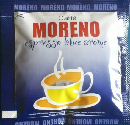 Caffè Moreno Blue ESE coffee pods from Naples