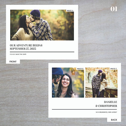Horizontal - Double-Sided Save-The-Date Post Cards
