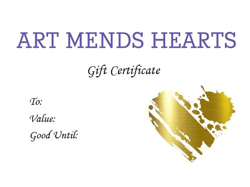 Art Mends Hearts Gift Certificate