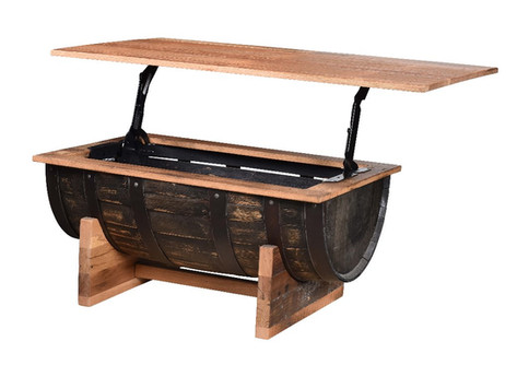 Barrel Coffee Table with Lift Top