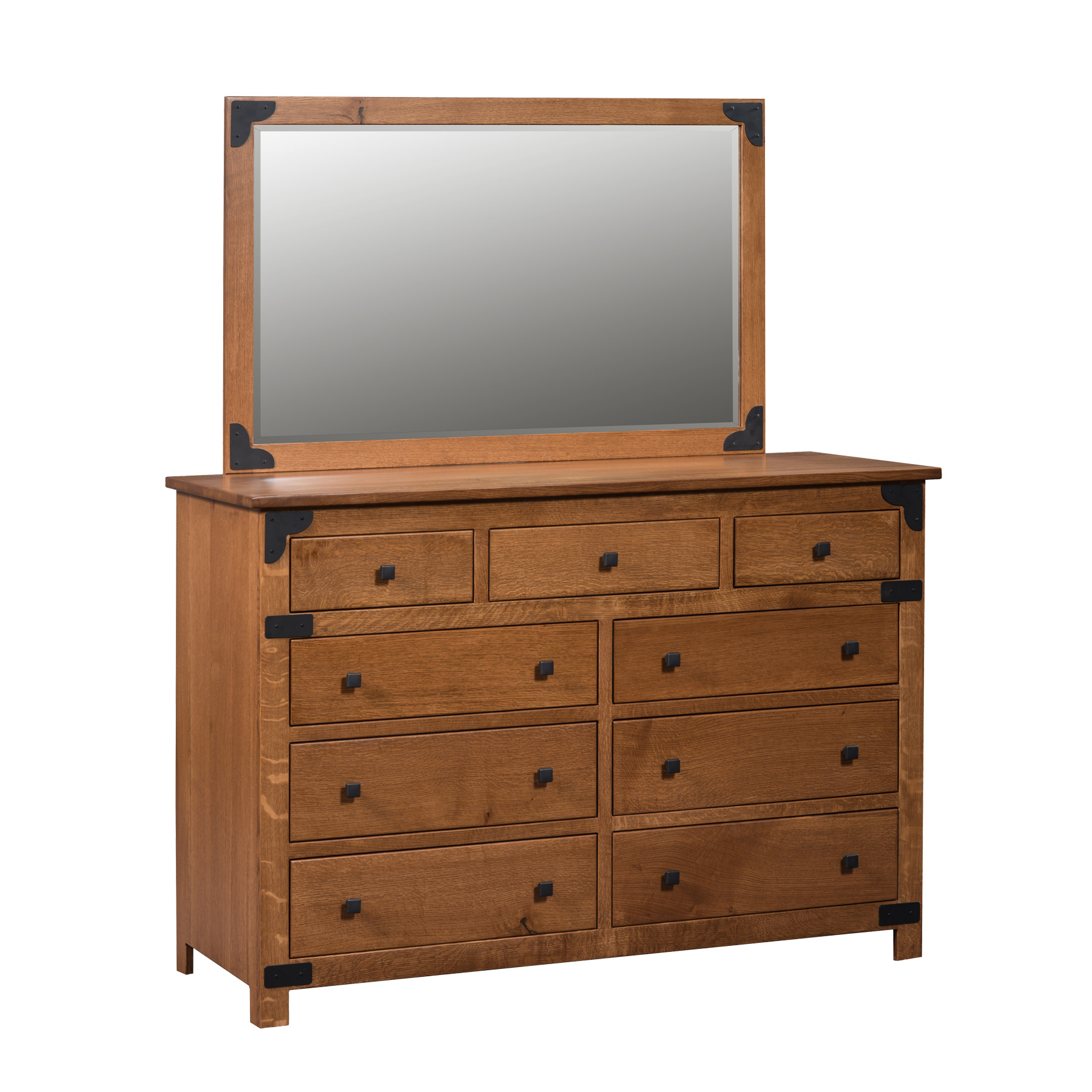 Prentiss Double Mule Dresser and Mirror.