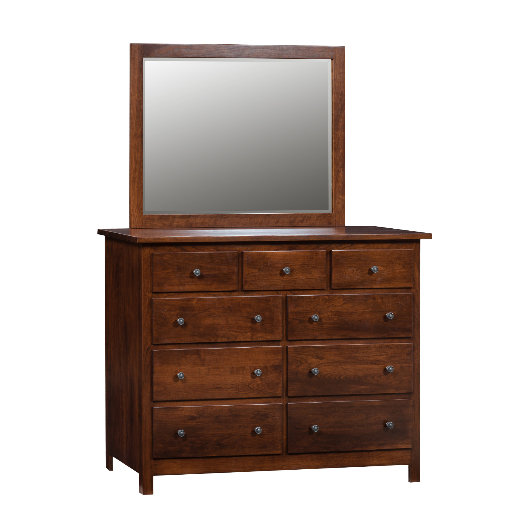Shaker Double Mule Dresser and Mirror