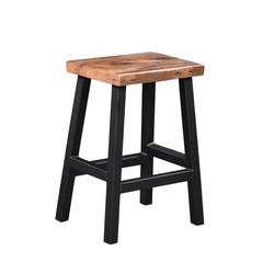 Barnwood Bar Stool with Metal Base