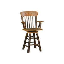 Oak Back Swivel Barstool with Arms