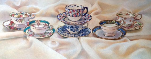 Teacups on White Linen