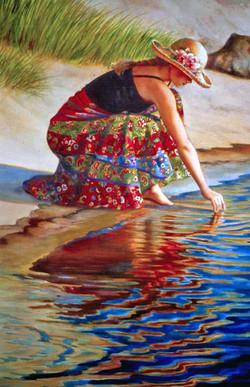 Erin, Kneeling at Waters Edge