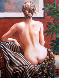 Back Nude with Stripes